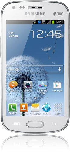 Samsung Galaxy S Duos S7562 Smartphone (Qualcom Prozessor, 1GHz, 10,2 cm (4 Zoll) Display Touchscreen, 5 Megapixel Kamera, microSD-Kartenslot, Android 4.0) pure weiß