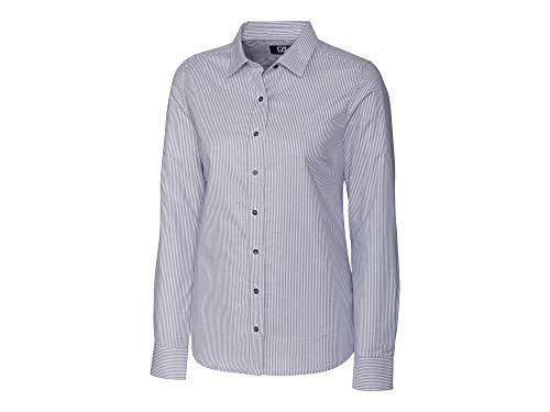 Cutter & Buck Damen Wrinkle Resistant Stretch Long Sleeve Button Down Shirt Smokinghemd, Charcoal Oxford Stripe, XX-Large -
