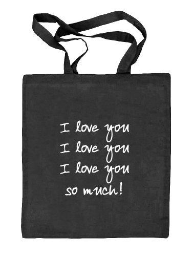 Shirtstreet24, Valentinstag - I Love You So Much, Natur Stoffbeutel Jute Tasche (ONE SIZE) schwarz natur