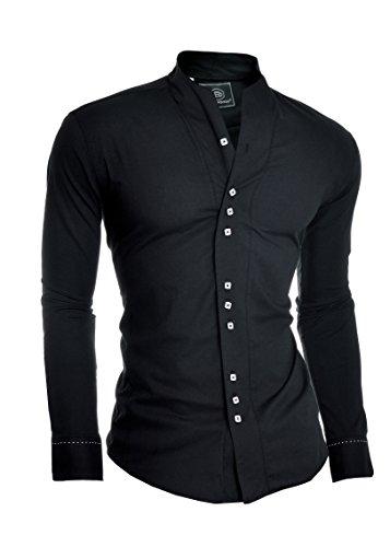 D&R Fashion Herren Moderne Hemd mit Einzel Manschetten und Opa Kragen Japan Style (Kragen-einzel Manschette-shirt)
