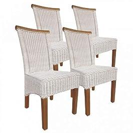 Casamia Perth Lot de 4 chaises en rotin sans Coussin Blanc Taille Unique