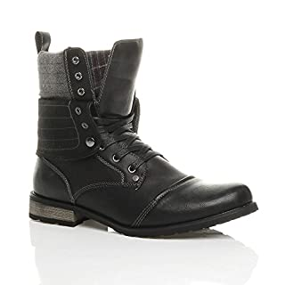 MENS LACE UP LOW HEEL FLAT FOLD OVER PADDED CUFF MILITARY ANKLE BOOTS SIZE 8 42