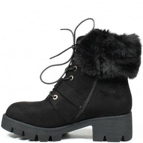 Ideal Shoes - Bottines montantes effet daim avec col fourré Madine Noir