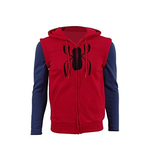 Zhangjianwangluokeji Cosdaddy Herren Hoodie Kapuzenjacke Cosplay Kostüm (Rot, L) (Spiderman Kostüme Designs)