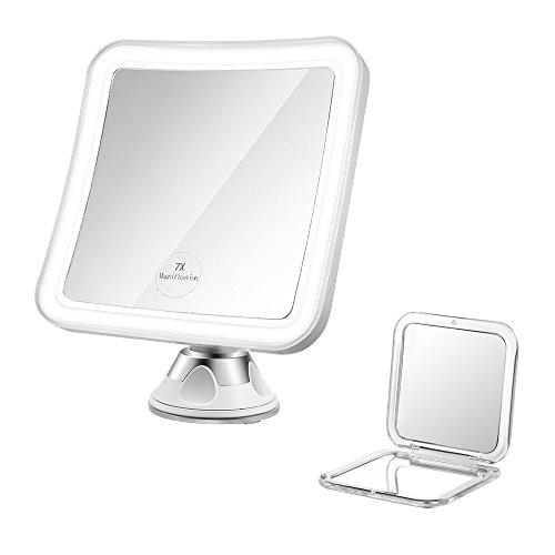 Jerrybox Beleuchteter Kosmetikspiegel 7-Fach Vergrößerungsspiegel mit Beleuchtung LED Schminkspiegel 360° Rotation Make Up Spiegel, Zusammenklappbar, Batteriebetrieb, Eckig, GRATIS Taschenspiegel (1X/5X Vergrößerung)