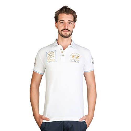 La Martina Herren Polo-Shirt, kurzärmlig Weiß/Gold