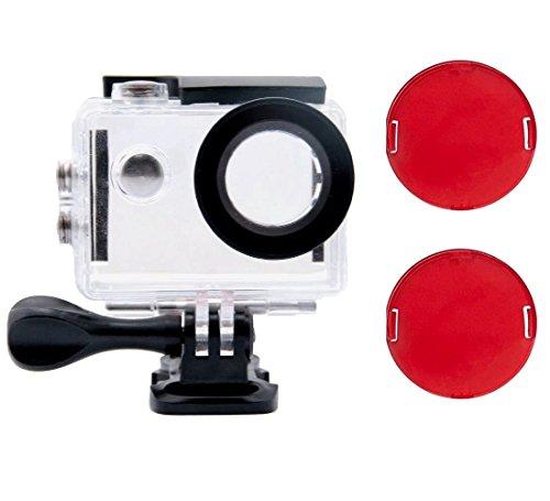 Tek-Wasserdicht Fall Dive Housing Schutzhülle Shell mit 2 Pack Rot Filter für Akaso ek7000 4K/DBPOWER ex5000/fitfort/bopower/EKEN H9R Unterwasser Action Kamera