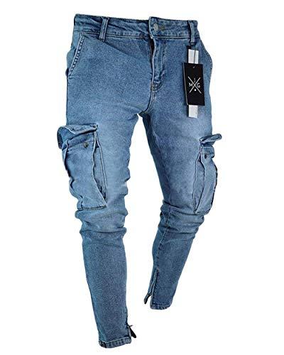 Herren Slim Fit Denim Cargohosen Bikerjeans Stretch Skinny Mit Jeans Hose  Freizeithose Cargo Hose Mit Taschen (Color   Dunkelblau, Size   3XL) 92ee1dc904