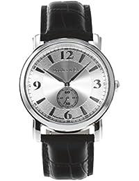 Boudier & Cie -BSSM200- Reloj de Cuarzo Analogico con movimiento Suizo para hombre, Esfera negra, Correa de Cuero negro