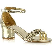 ESSEX GLAM Donna Cinturino Alla Caviglia Sandali Le Signore Tacco Basso  Diamante Scarpe