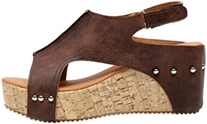 LANDFOX Keil-Fischmundsandelholze der Frauen Damen Iconic Sandal Espadrilles Sommer Damen Keilsandalen mit Hochhackigenö