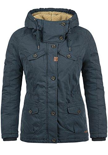 DESIRES Lewana Damen Parka Winter-Mantel lange Jacke mit Kapuze und Teddy-Futter aus hochwertiger Baumwollmischung, Größe:XL, Farbe:Insignia Blue (1991)