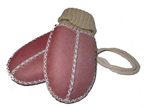 Heitmann Baby-Lammfell-Handschuhe / - Fäustel mit Strickbündchen, rosa