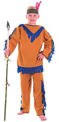 Bristol Novelty- CC374 Costume de Garcon Indien Budget, Taille L, Age 7-9 Ans, Bleu, Grand