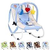 Infantastic Babywippe mit 3-Punkt-Sicherheitssystem mit stabilem Metallrohr-Gestell,  inkl. Spielbogen, 3 Spielzeuge, blau/weiß-Seestern