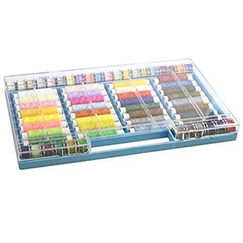 64 Piece Polyester Sewing Thread Set by Curtzy - All Purpose Embroidery Threads on Spools & Bobbins in a Plastic Case - Ideal for Machine Sewing or Hand Needle Work - Best Kit for Women, Men &