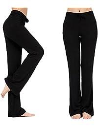 Pantalones Largos Modales Cómodos de Lazo Del Cordón de Las Mujeres Sueltos de la Pierna Recta Para la Yoga que se Ejecuta Sporting Negro XXXL