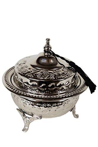 Orientalische Zuckerdosen Dosen aus Messing in Silber Etana 14cm | Marokkanische Minzdose Tee Kaffee...