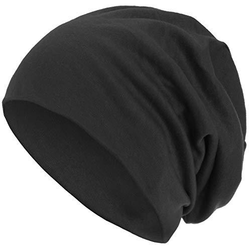 style3 Warme Herbst Winter Slouch Beanie XXL aus atmungsaktivem, feinem und leichten Jersey Unisex Mütze Wintermütze One Size, Farbe:Anthrazit -