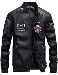 d99564a0eec0 ROBO Cuir Manteau Homme Baseball Bomber Jacket Epais Moto Veste Décontracté  ...