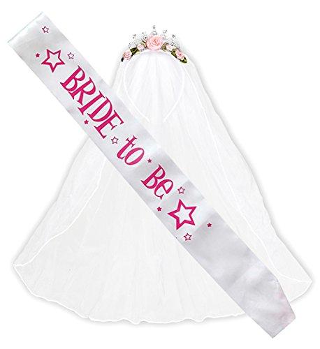 Panelize® - Braut Set mit Schärpe und Diadem mit Schleier Junggesellinnenabschied JGA (Braut Junggesellinnenabschied Kostüm)