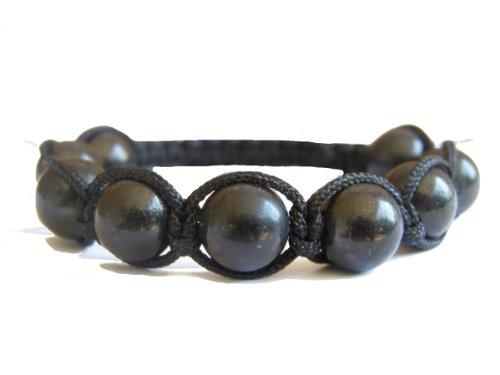 ZENstore fine shungite annodate braccialetto Shamballa 14-17cm Unisex, Certificato, gemme, Nero, Fatto a (Healing Gemma Di Cristallo)