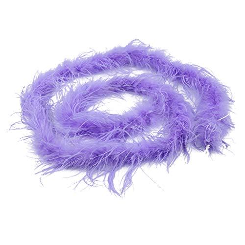 F Fityle 2 Metri Strisce di Boa di Piume di Struzzo Fluffy Trim per Costume Party Abbigliamento per Cucire Cappello Artigianale di Modisteria Decorazione - Viola Chiaro, Come descritto