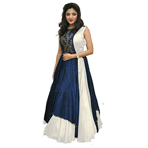 Anarkali suits (KESU Fashion Women\'s Printed un-stitched Salwar Suit\\dress Material without dupatta In Banglori Fabric (KUMD1008-B) White
