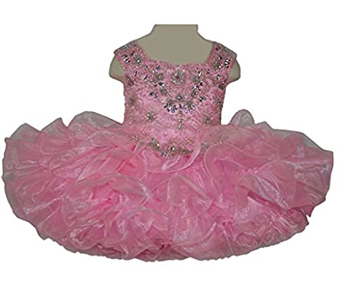 TuanYuan Baby Girls Beaded Mini Cupcakes Kids Party Pageant Dresses 2US Pink
