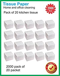 Tissue Paper 2000 Pieces (White 20 Packet) Home and office cleaning