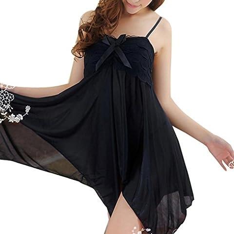 tenue de nuit /Caraco❀AMUSTER ❀Femmes Lace Bow Underwear Babouche de tentation Racy Robe de nuit (Noir)