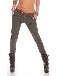 Fashion4Young Damen Skinny Chino Pant Hautenge Treggings Stretch-Stoff Damenhose mit Gürtel