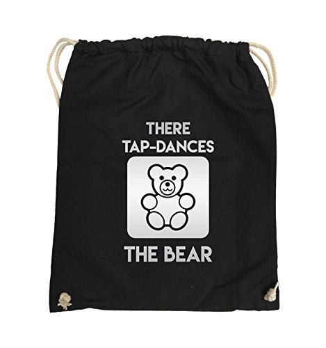 Comedy Bags - THERE TAP DANCES THE BEAR - Turnbeutel - 37x46cm - Farbe: Schwarz / Pink Schwarz / Silber