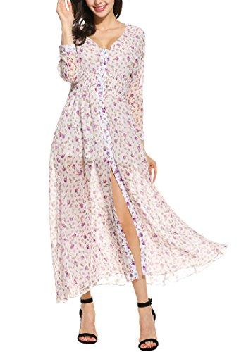 ... Zeagoo Sommerkleid Damen Lange Maxikleid Strandkleid Langarm Elegantes  Kleid V-Ausschnitt Chiffonkleid Partykleid Weiß ...