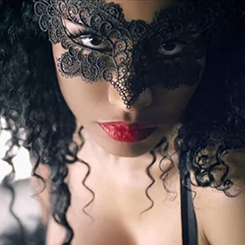 JYYC 5PCS Schwarze Reizvolle Dame Lace Mask Eye Mask für Maskerade-Partei-Abendkleid-Kostüm/Halloween-Partei Fancy-5pcs Schwarz