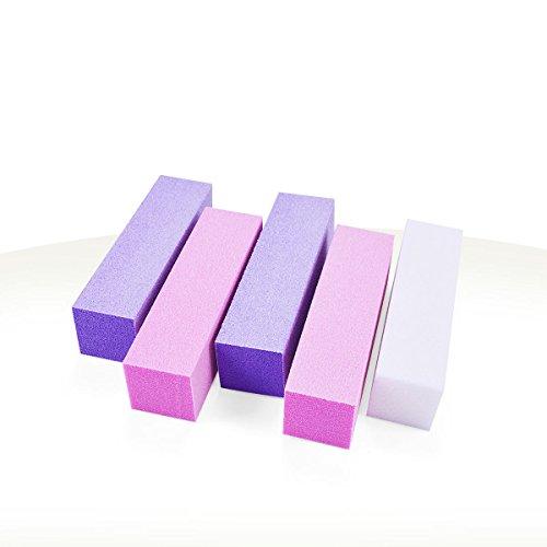 Ocibel - Lot 5 Blocs Polissoir 4 Faces 240/240 Multicouleur - Manucure, Faux Ongles et Nail Art