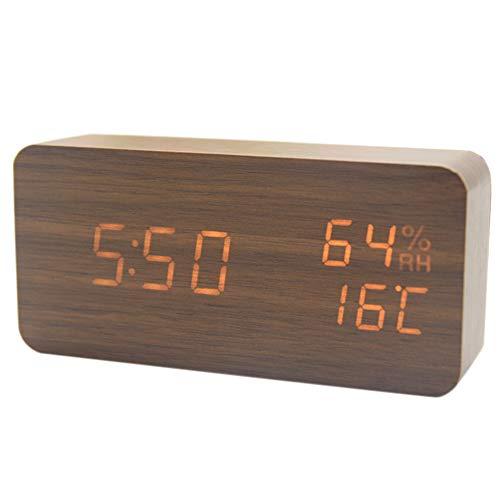 Leobtain Reloj Digital Madera LED Reloj Alarma Multifunción
