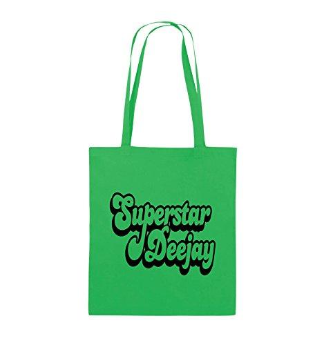 Borse Comedy - Deejay Superstar - Borsa Di Juta - Manico Lungo - 38x42 Cm - Colore: Nero / Verde Argento / Nero