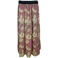 Mogul Interior Women Maxi Skirt Peasant Floral Printed Rayon Long Skirt M Pink