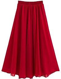 Women Chiffon Boho Plissee Retro Maxi langer Rock elastischen Bund Tanz Kleid