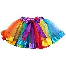 Bestow Navidad Petticoat Rainbow Pettiskirt Bowknot Falda Tutu Vestido Dancewear (L, Multicolor)