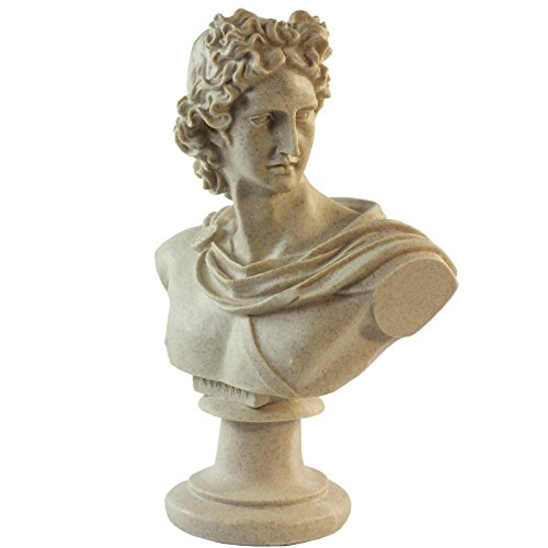 GOLDBEARUK Estatua de Busto de Dios Griego Romano – Apollo Sun of The Gods Escultura Grande 44 cm Macho