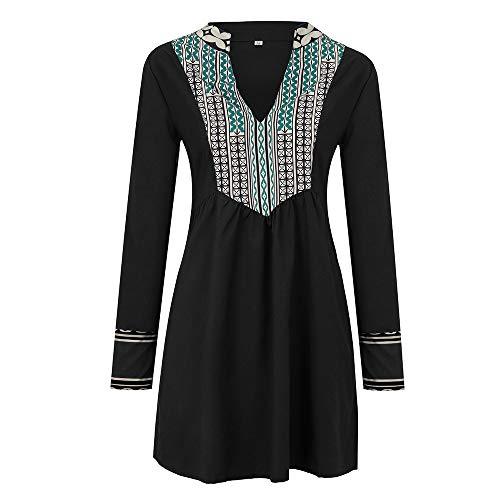 VEMOW Heißer Mode Damen Elegante V-Ausschnitt Langarm Folk-Custom Print Patchwork Mini Vintage Kleid Herbst Frühling(Schwarz, EU-42/CN-XL)