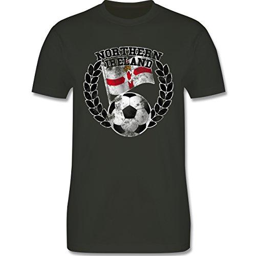 EM 2016 - Frankreich - Northern Ireland Flagge & Fußball Vintage - Herren Premium T-Shirt Army Grün