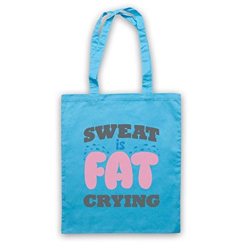 Sweat Is Fat Crying Gym Workout Slogan Umhangetaschen Hellblau