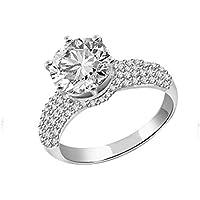 Sparkles 2,42ct Diamante Anello In Oro Bianco 18Kt (GH, colore si Clarity)