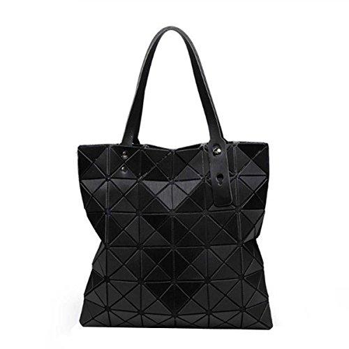 Folding Umhängetasche Geometrische Lingge Splicing Handtasche Black