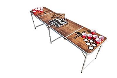 BeerBaller Table de Beer Pong Premium – table en bois (imperméable) – compartiments réfrigérés inclus – trous pour la stabilité des verres et un espace de rangement pour les balles [6 balles offertes]