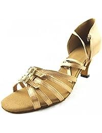 YFF Geschenke Frauen Dance Shoes Ballroom Latin Dance Tango Tanz shoes 6CM,Apricot color,41 LEIT