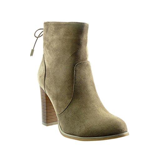 Angkorly-damen-Schuhe-Stiefeletten-Low-boots-Knoten-Blockabsatz-high-heel-9-CM-Khaki-F1025-T-37